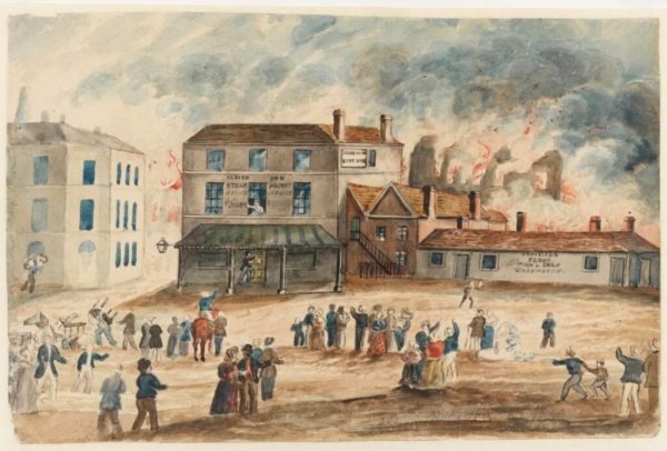 Albion Mills ablaze, by George Roberts.
