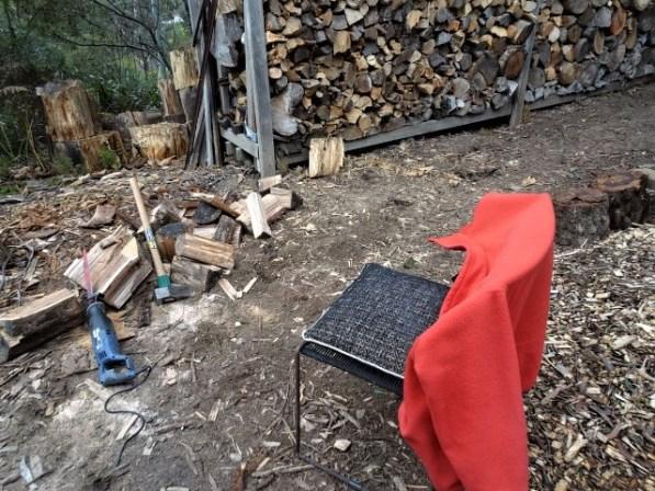 Bird watching seat at the wood heap.