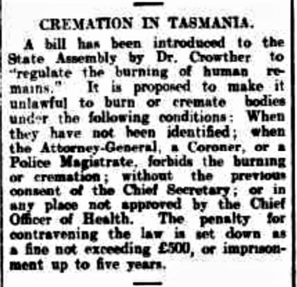 Article on Cremation legislation in Tasmania.