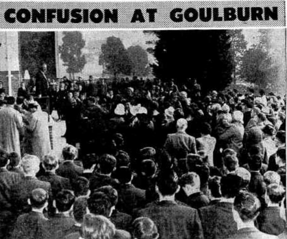 Enrollment day at Goulburn high School following the Catholic School's strike action.