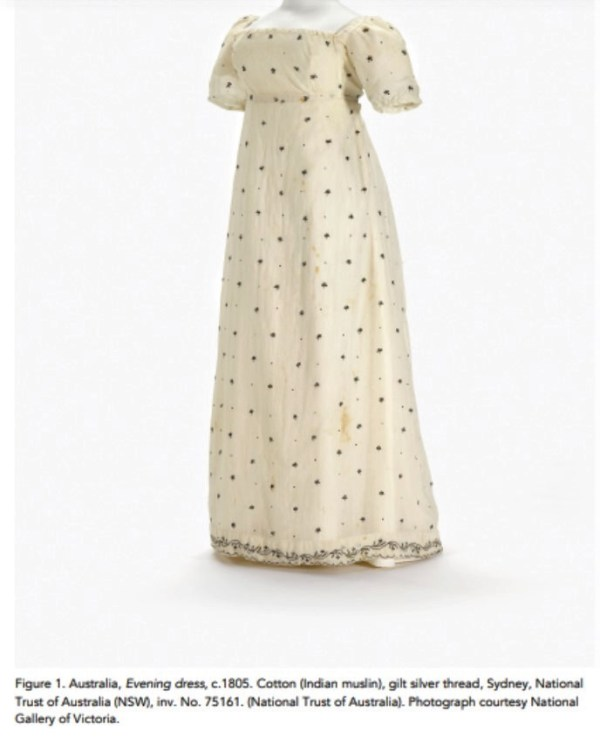 1805 muslin gown owned by Anna King, the Governor's wife.