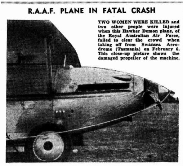 Newspaper photo of the damaged Hawker Demon plane.