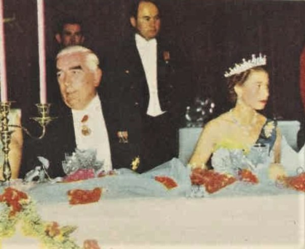 The Queen and Prime Minister  Robert Menzies at the Victorian State Banquet. She is wearing the wattle brooch.