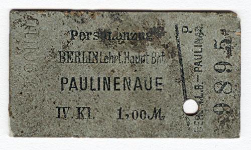 Fahrschein Berlin-Paulinenaue 4. Klasse vom 22. August 1890.