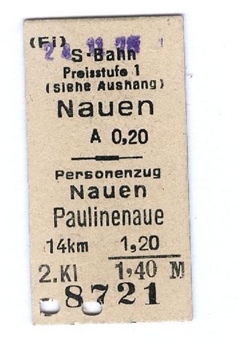Fahrschein von Nauen nach Paulinenaue 1978.