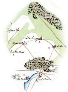 Abbildung des Schauplatzes. Auf seinem Weg vom Lindholz nach Behnitz über Selbelang berührte von Bardeleben die Gemarkungen mehrerer Herren.