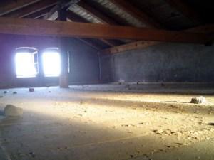 Dachstuhl über der ehemaligen Eingangshalle