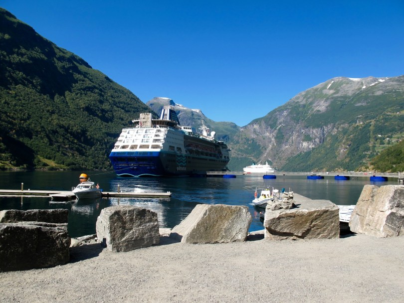 Geiranger fjord with the cruise ship