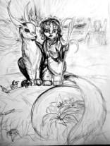 Sandcat, size A4, sketch, pencil