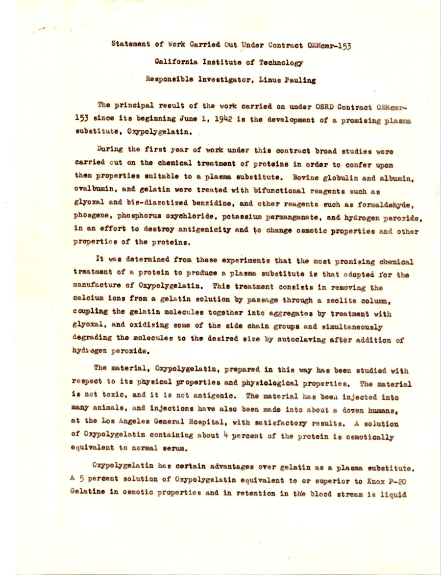 Statement of Work Carried Out Under Contract OEMomr-153, 1944.  Page 1.
