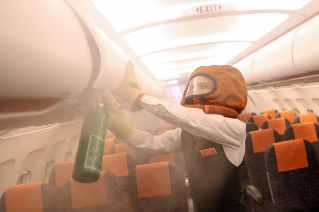Fire Extinguisher Emergency Equipment on Airplane