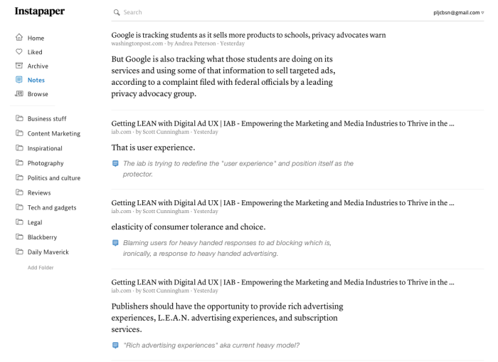 Instapaper's Notes view