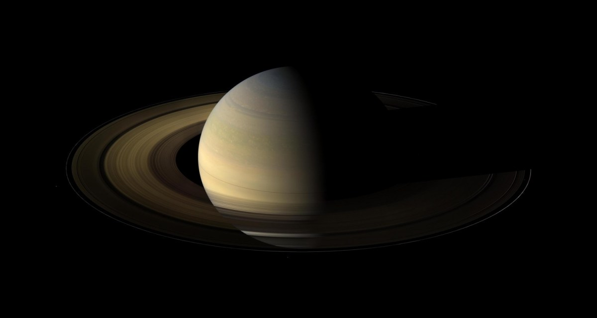 Saturn partially in shadow