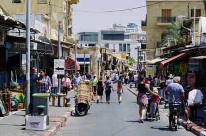 A busy market street scene in Jaffa.