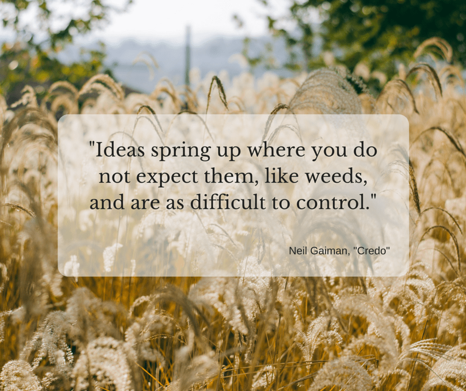 Ideas spring up where you do not expect them, like weeds, and are as difficult to control