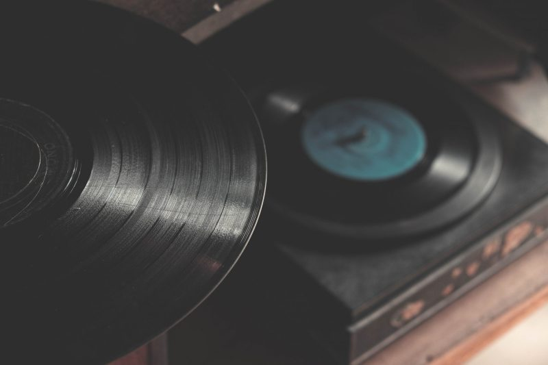 Record playing on a turntable