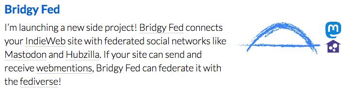 Ryan Barrett's Bridgy Fed launch announcement.