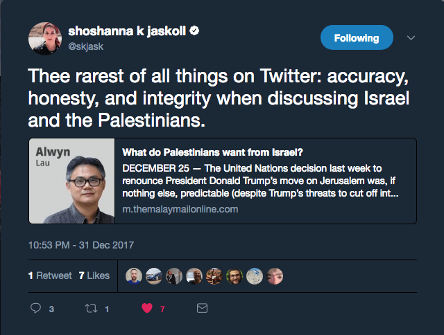 Shoshanna Jaskoll's tweet linking to the article