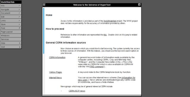 The WorldWideWeb browser
