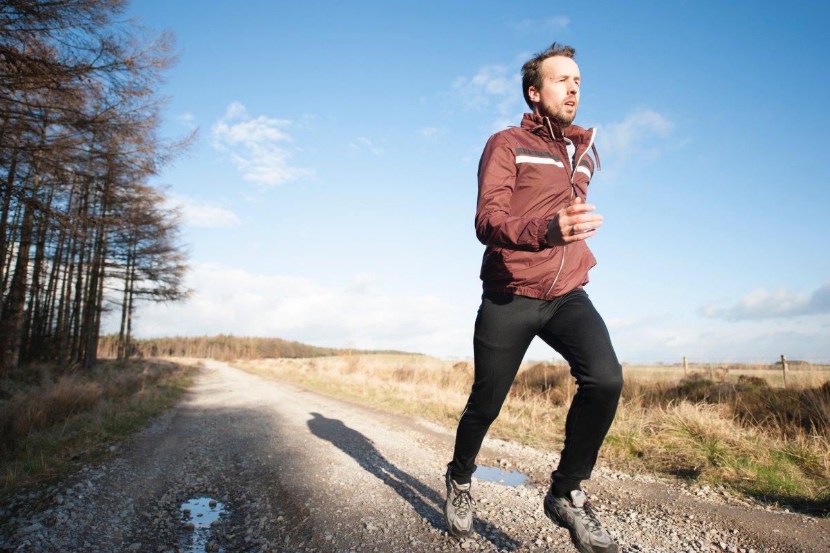 Runner listening to music