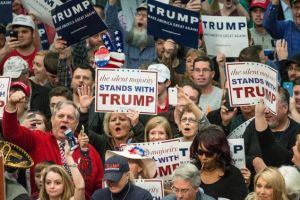 CONCORD, NC - MARCH 7: Donald Trump supporters cheer on the Republican presidential candidate before a campaign rally March 7, 2016 in Concord, North Carolina. The North Carolina Republican presidential primary will be held March 15. (Photo by Sean Rayford/Getty Images)