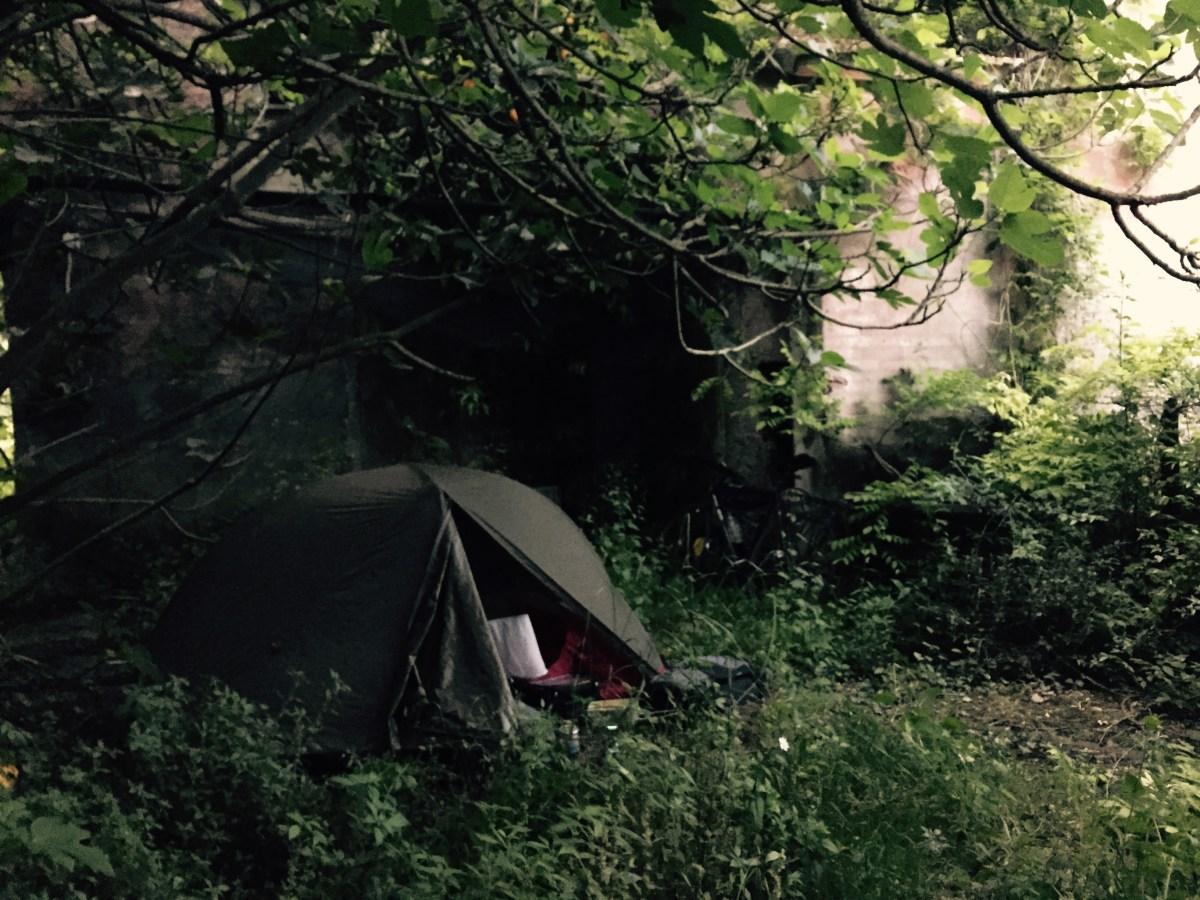 Camping in an abandoned courtyard, near La Spezia