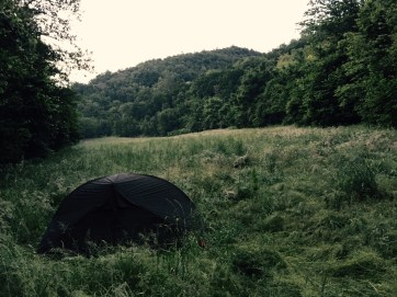 Camping in meadow