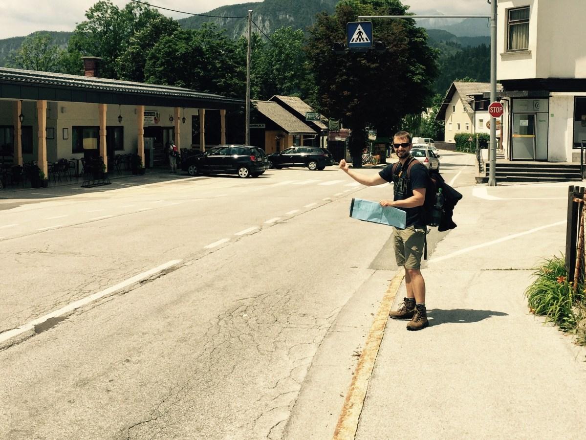Nils hitchhiking Bled to Bohinj