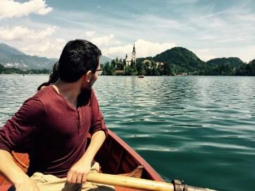 Enrique rowing on lake Bled, Slovenia