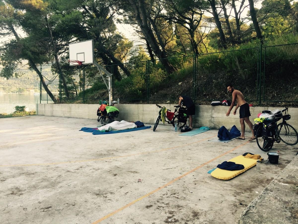 Sleeping in basketball court, Slano, Croatia