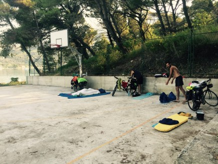 Sleeping in basketball court, Slano, Croatia