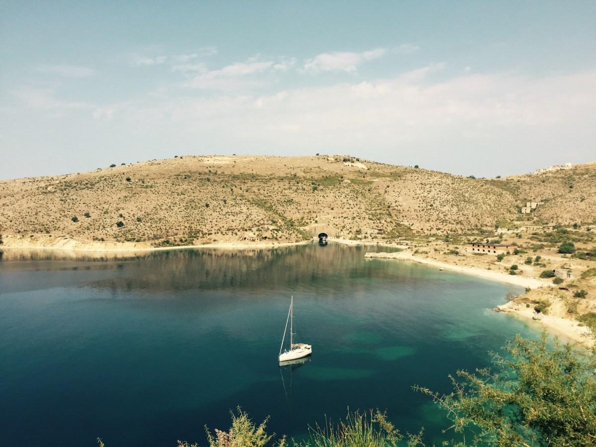 Submarine bunker and boat, Albania