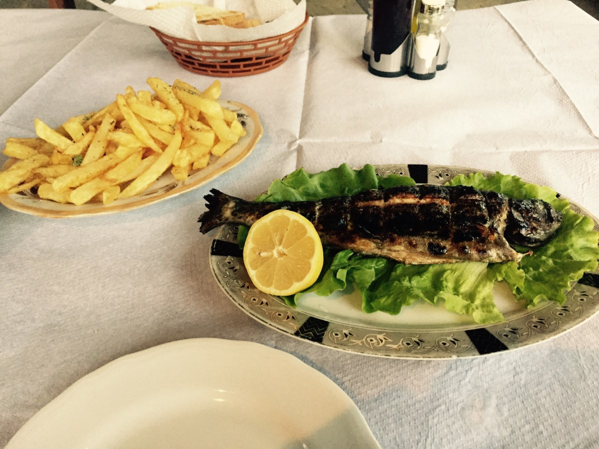 Grilled fish and chips, Albanian backcountry