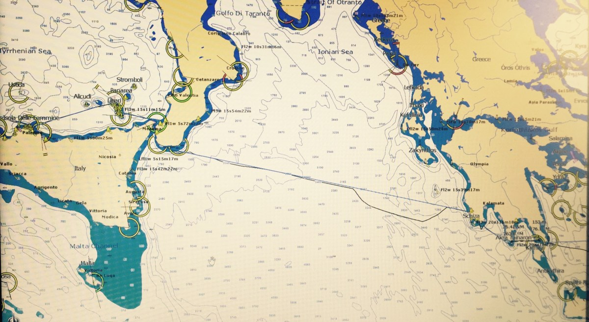 Screenshot of chart showing rout from Greece to Sicily