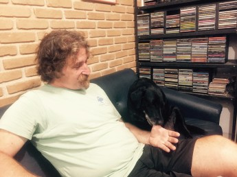 Henrique of Project TAMAR and his dog Noite, Ubatuba