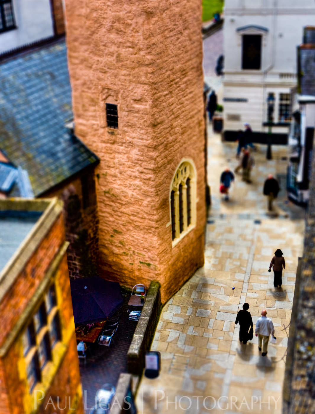 Exeter From Above, tilt shift photography cityscape street photographer herefordshire 4889