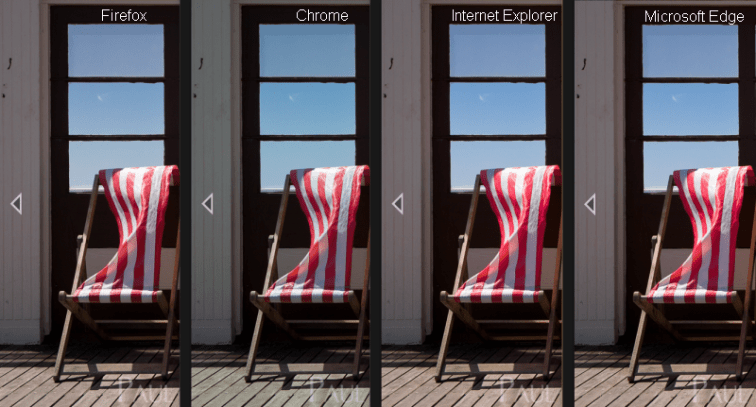 Web browser colour rendering comparison photography
