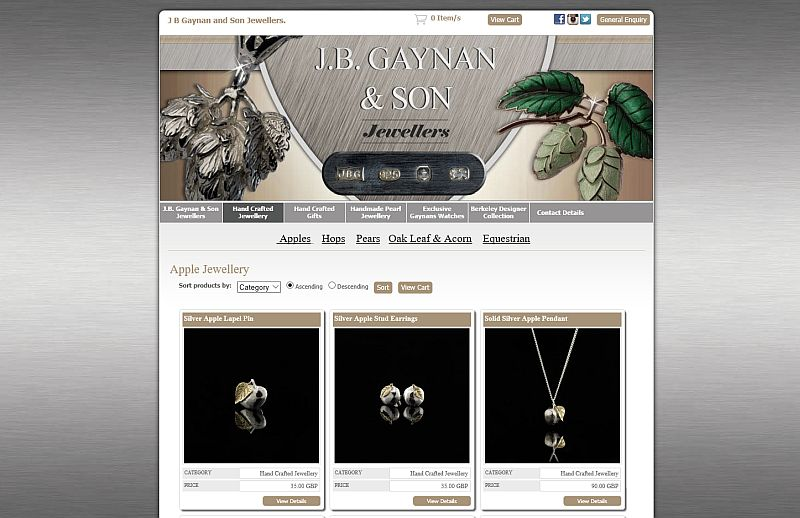 JB Gaynan & Son, Ledbury, Herefordshire jewellery product website image
