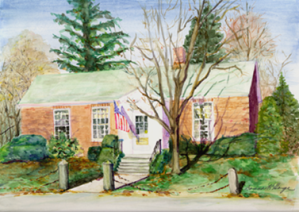 Watercolor painting of the Paul Memorial Library. Artist: Donna K. Hoge
