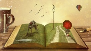 Fantastical image of an open book with a dog, a lamppost and a girl with a red umbrella standing on the pages.