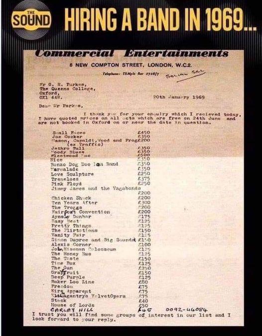 Book Pink Floyd – £250 ($334) a pop.