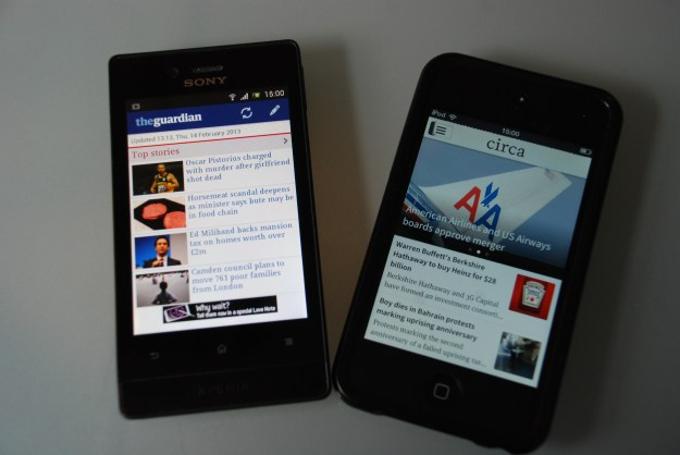 News for mobiles from the Guardian and Circa.