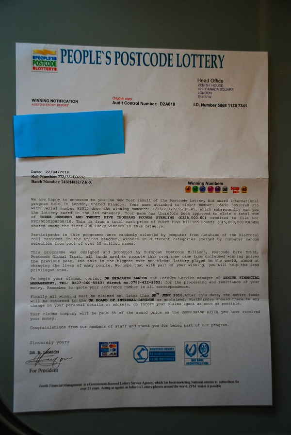 The letter purporting to be from the People's Postcode Lottery