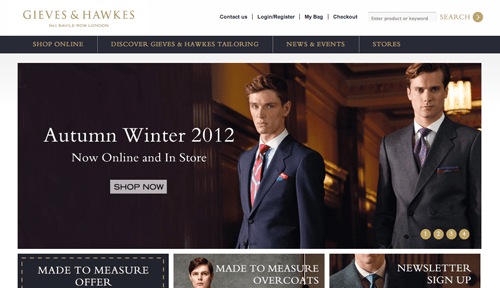 Gieves and Hawkes Ecommerce Website