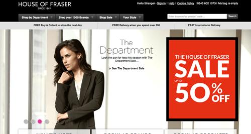 House of Fraser Ecommerce Website