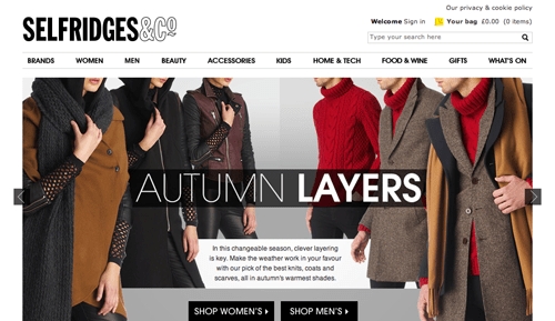 Selfridges Ecommerce Website
