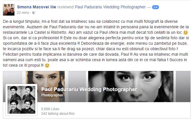 recenzie fotograf nunta Iasi - Simona Macovei Ilie