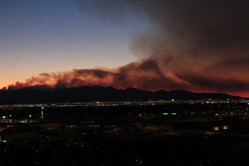 Smoke Coming off Spring Range over Vegas Valley
