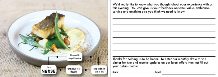 An example of the comments cards used at Norse restaurant based in Harrogate.