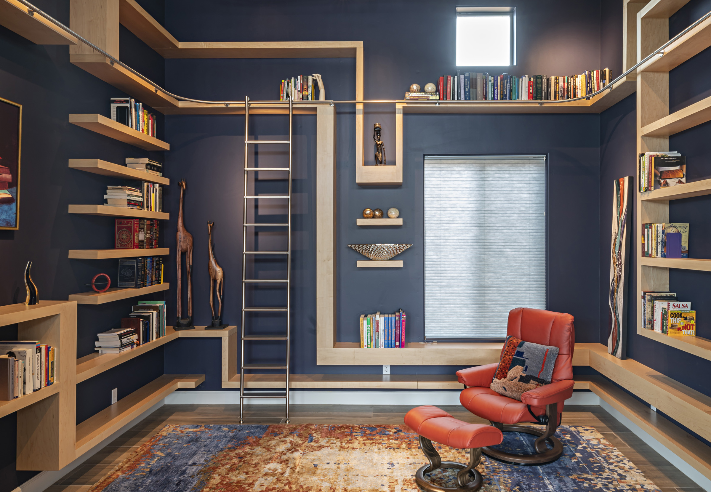 Modern Custom Home Library Rolling Ladder Bookcases
